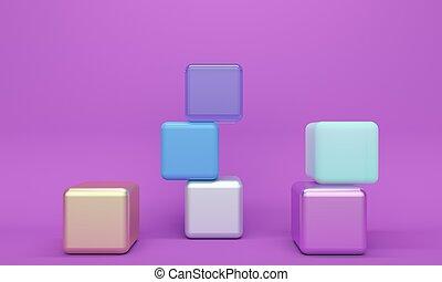 elvont, vakolás, pohár, orgona, 3, háttér, cube., műanyag, fém