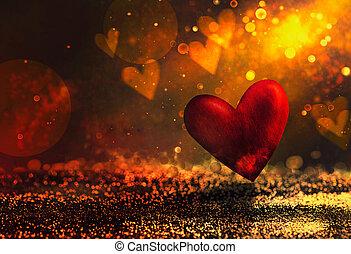 elvont, valentines, fényes, bokeh, háttér
