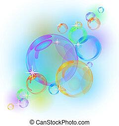 elvont, vektor, buborék, háttér