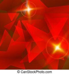 elvont, vektor, csillag, piros háttér