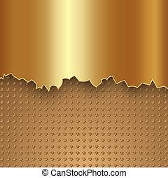elvont, vektor, fém, arany, háttér