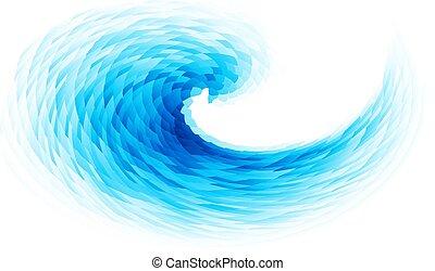 elvont, vektor, kék, örvény