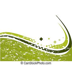 elvont, vektor, zöld háttér