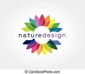 elvont, virág, vektor, jel, ikon, concept., logotype, sablon, helyett, bélyegez