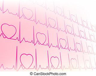 elvont, waveform, alapján, elektrokardiogramm, test., eps8