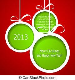 elvont, zöld, karácsony, herék, cutted, alapján, dolgozat, képben látható, piros, háttér., vektor, eps10, ábra