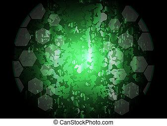 elvont, zöld, világítás, vektor, háttér