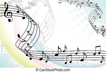 elvont, zenés, zene, háttér, fehér, hangjegy