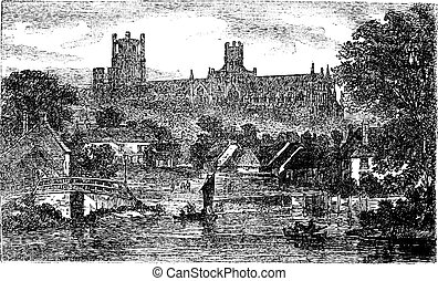 Ely Cathedral in Cambridgeshire, England, United Kingdom, vintage engraving
