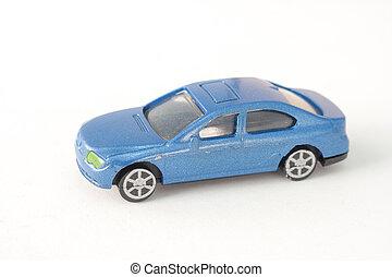 elzáródik, öreg, blue autó, játékszer, elszigetelt, white, háttér., (selective, focus)