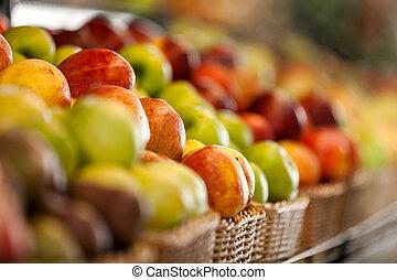 elzáródik, bolt, gyümölcs