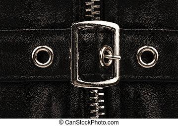 elzáródik, képben látható, egy, dekoratív, derékszíj övcsat, képben látható, egy, darab, közül, black bőr, clothes.