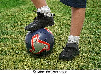 elzáródik, közül, egy, futball játékos