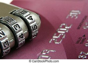 elzáródik, közül, egy, hitelkártya, és, padlock-, biztonság, fogalom