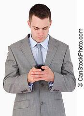 elzáródik, közül, fiatal, businessman írás, szöveg üzenet