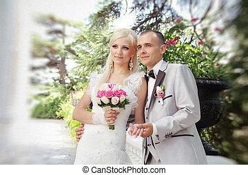 elzáródik, közül, fiatal, esküvő párosít