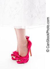 elzáródik, közül, womans, lábak, alatt, csípős rózsaszínű, stilettos, képben látható, egy, elszigetelt, fehér, háttér.