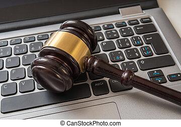 elzáródik, kilátás, képben látható, árverezői kalapács, és, számítógép, keyboard., internet értékpapírok