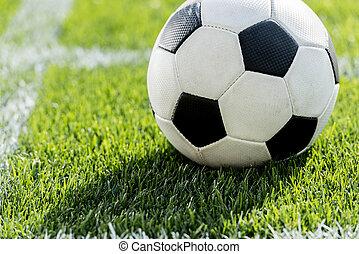 elzáródik, kilátás, közül, focilabda, képben látható, fű, alatt, szögletrúgás, helyzet, képben látható, futball terep, stadion