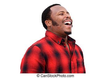 elzáródik, portré, közül, fiatal, african american bábu, nevető