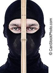 elzáródik, portré, közül, hím, ninja