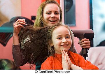 em, a, estilista cabelo