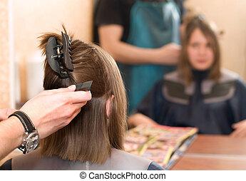 em, a, salão cabelo