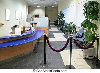 em, banco, escritório