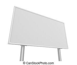 em branco, 3d, estrada, ilustração, sinal