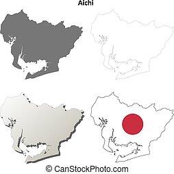 em branco, aichi, jogo, esboço, mapa