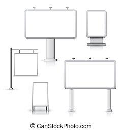 em branco, anunciando, placas
