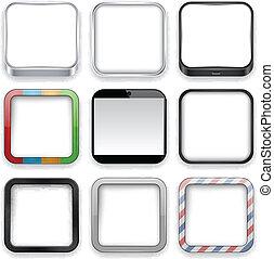 em branco, app, icons.