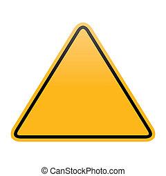 em branco, aviso, isolado, sinal amarelo