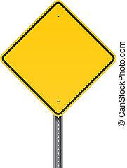 em branco, aviso, sinal estrada