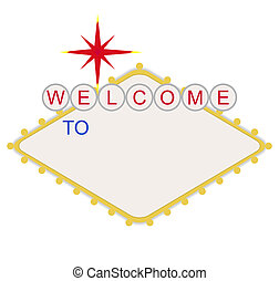 em branco, bem-vindo, para, las vegas, sinal