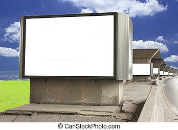 em branco, billboard, contra, céu azul