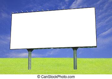 em branco, billboard, contra, céu azul, para, anúncio