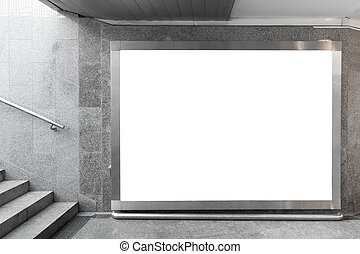 em branco, billboard, corredor