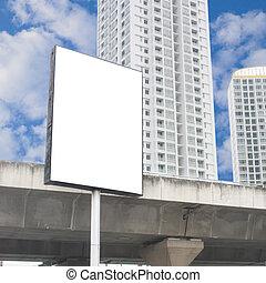 em branco, billboard, em, a, city.