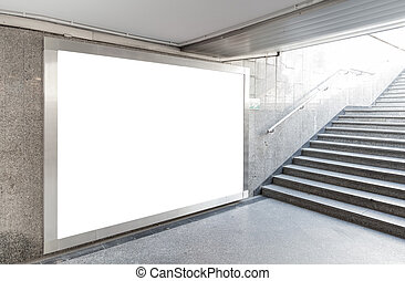 em branco, billboard, em, corredor