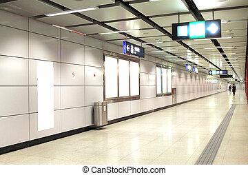 em branco, billboard, em, treine estação