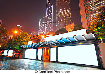 em branco, billboard, ligado, ponto ônibus, à noite