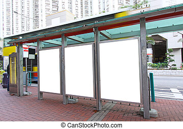 em branco, billboard, ligado, ponto ônibus