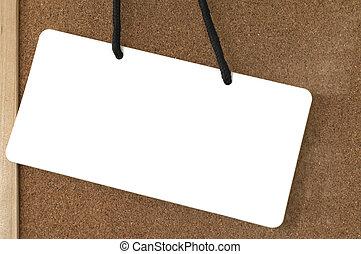 em branco, board., madeira, etiqueta
