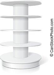 em branco, branca, produtos, realístico, display., vazio, supermercado, levantar, com, redondo, prateleiras, vetorial, modelo
