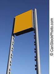 em branco, céu, amarela, contra, sinal