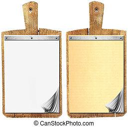 em branco, caderno, ligado, antigas, madeira, tábua cortante