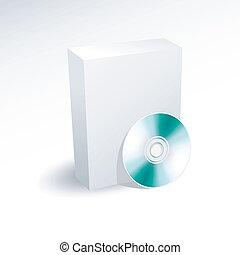 em branco, caixa, e, dvd, cd, disco