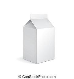 em branco, caixa papelão, leite, pacote