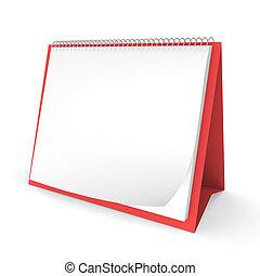 em branco, calendário desktop, com, espaço cópia, para, texto, isolado, branco, fundo